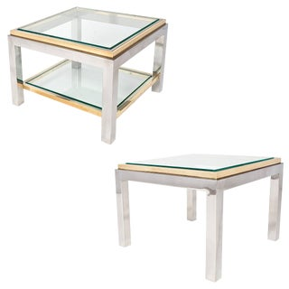 French Chrome and Brass Side Tables- A Pair