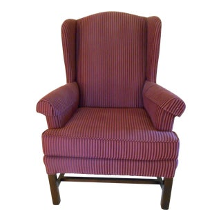 Pinstriped Wing Back Chair