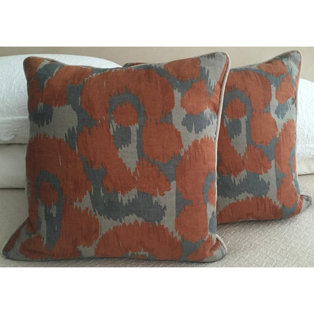 Orange & Gray Linen Pillows - A Pair - Image 2 of 6