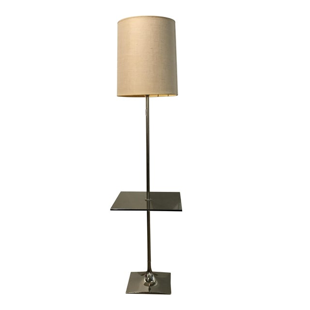 Laurel floor lamp with glass shelf chairish for Floor lamp with shelves