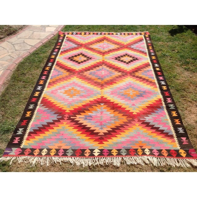 "Vintage Turkish Kilim Rug - 6'4"" X 9'10"" - Image 2 of 6"