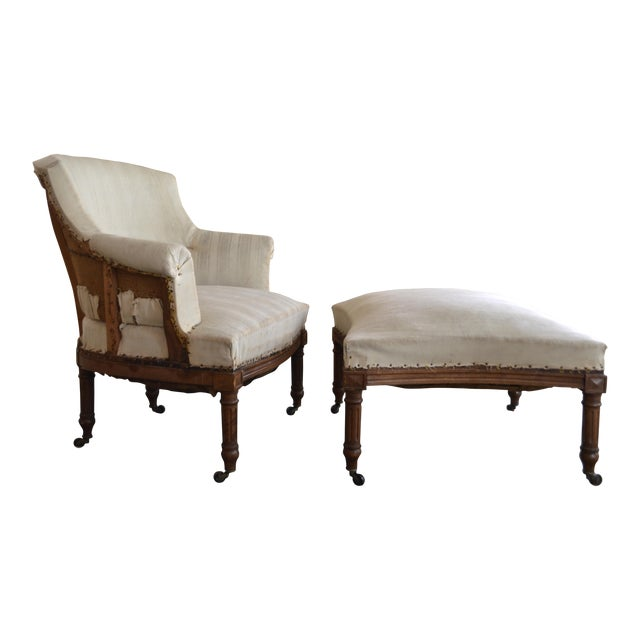 Antique French Napoleon Armchair and Ottoman - Image 1 of 9
