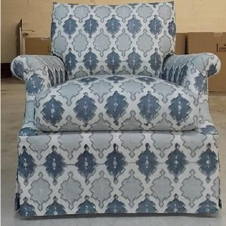 Image of O. Henry House Blue & White Patterned Club Chair