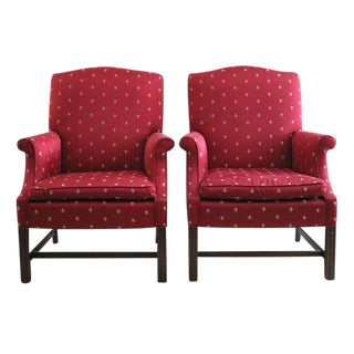 Burgundy Chippendale Wingback Chairs - A Pair