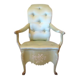 Victorian Pale Green Painted Armchair