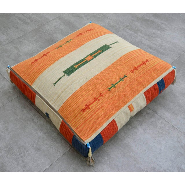 Turkish Hand Woven Floor Cushion Cover Cotton - 26″ X 26″ - Image 2 of 8
