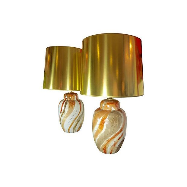 Ceramic Table Lamps With Custom Shades - Pair - Image 5 of 5