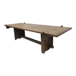 French Country Reclaimed Barn Door Coffee Table, Hand Hammered Hinges