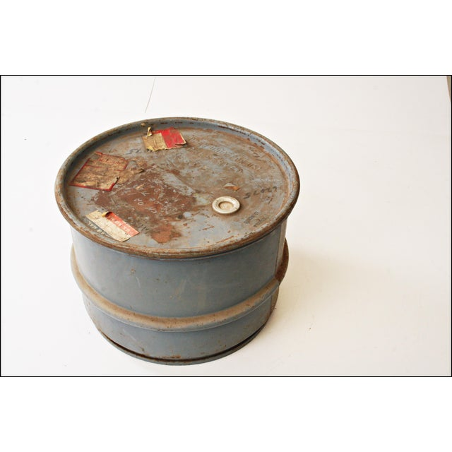Image of Vintage Industrial Gray Metal Barrel with Lid