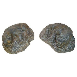 Carved Granite Stone Asian Temple Foo Dogs - a Pair