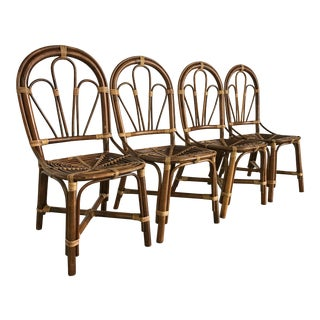 Vintage Handmade Bamboo Rattan Dining Chairs - Set of 4