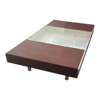 Modern Wood Glass & Steel Coffee Table