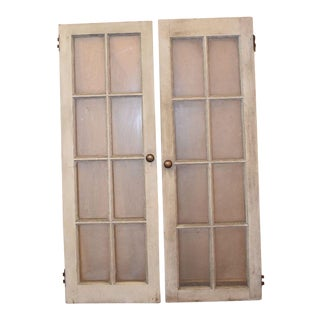 Vintage 8 Pane White Windows - A Pair
