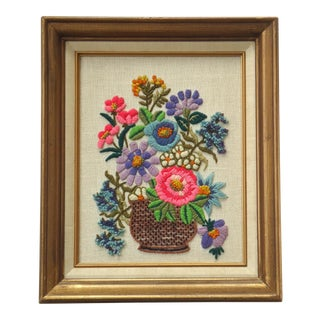 Vintage Framed Embroidered Flower Basket