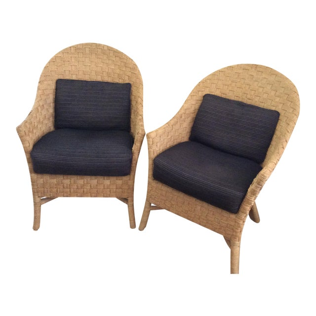 Image of Woven Bistro Chairs With Cushions - A Pair