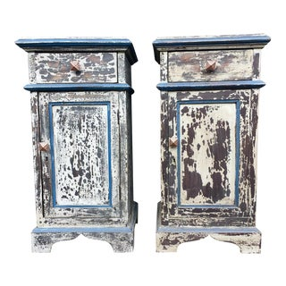 Shabby Chic Reclaimed Wood Nightstands - A Pair