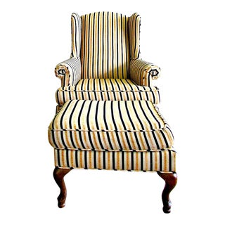 Wing-Back Striped Chair With Ottoman