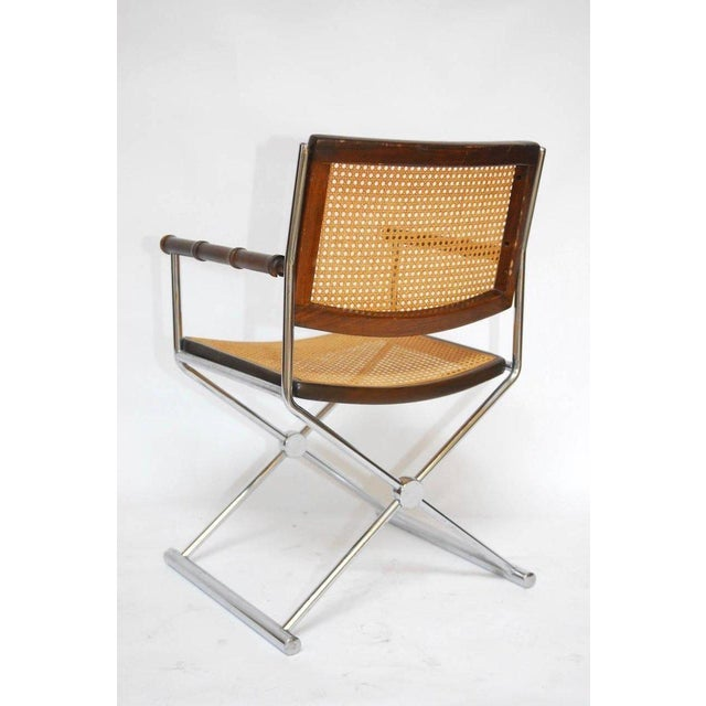 Mid-Century Chrome and Caned Director Chairs - A Pair - Image 4 of 8
