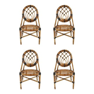 1970s Rattan Wrapped Leather Dining or Side Chairs - Set of 4