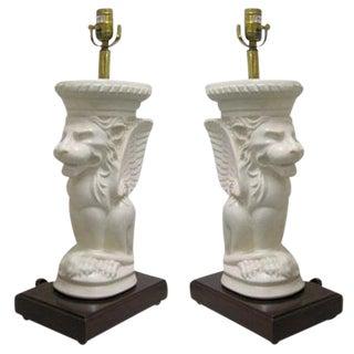 White Vintage Gargoyle Lamps - A Pair
