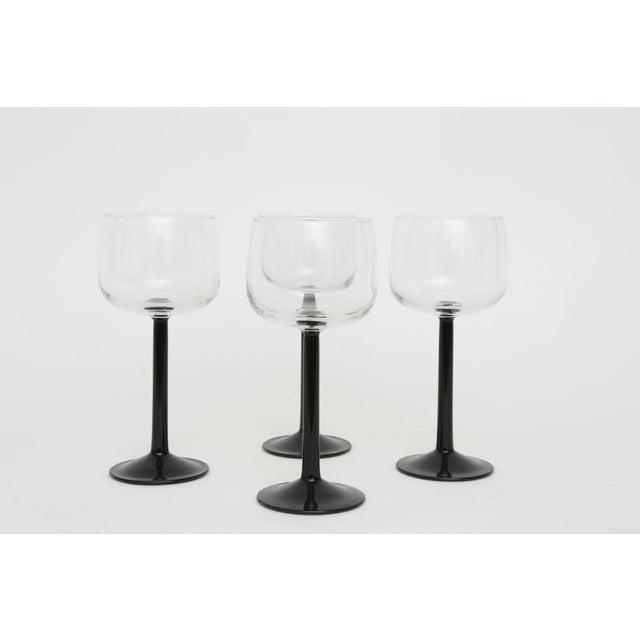 Vintage French Black Stem Glasses - Set of 4 - Image 2 of 7