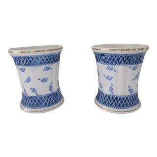 French Country Blue & White Cachepots-2 Pieces