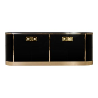 Mastercraft Ebony Lacquer & Polished Brass Credenza