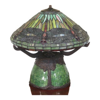 Tiffany Studio Style Leaded Glass Dragonfly Lamp
