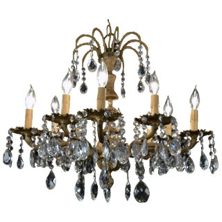 1930s Cast Brass & Crystal Chandelier