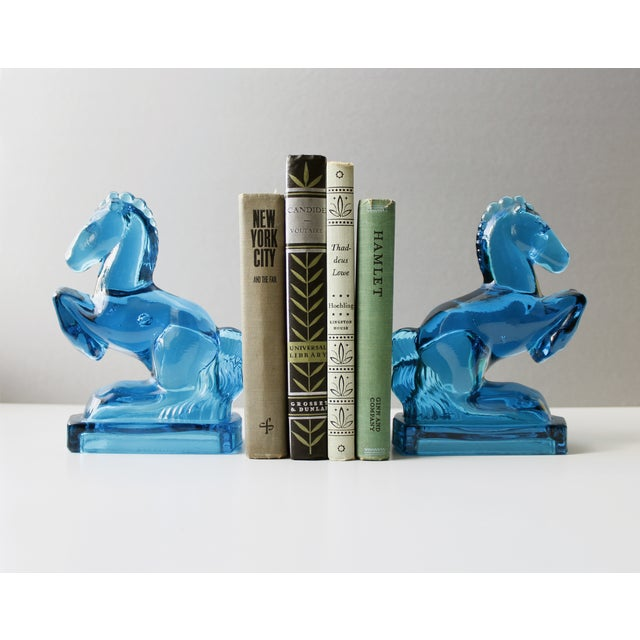 Mid-Century Blue Glass Horse Bookends- A Pair - Image 5 of 5