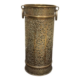 Brass Umbrella Stand With Bamboo Design