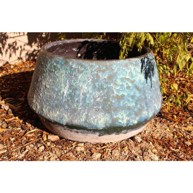 Mid-Century Blue Fat Lava Glaze Drip Planter Pot - Image 10 of 10