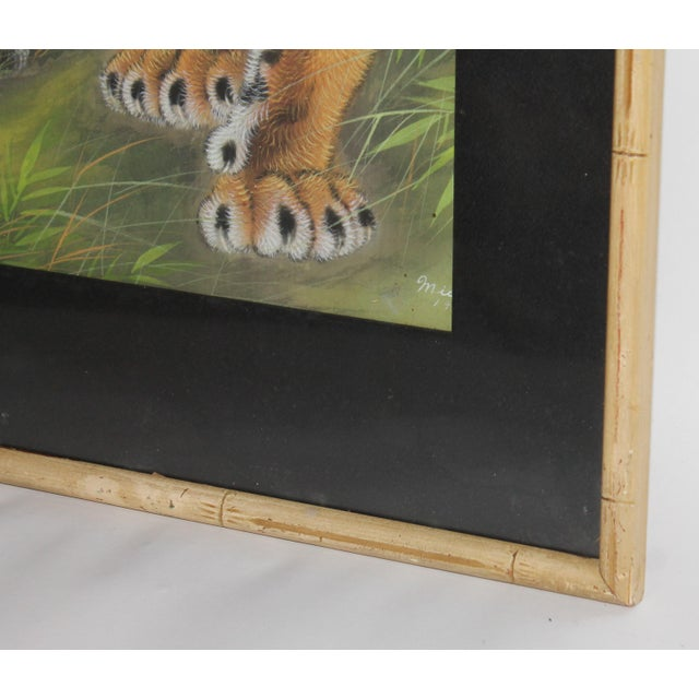 Image of Amazing Pastel Art Tiger Painting W/Bamboo Frame