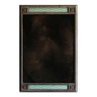 Art Deco Period Bronze and Enamel Frame, France c.1930, Antiqued Mirror (32″w x 47 1/2″h)