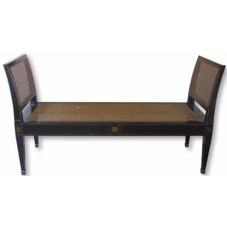 Black & Gold Painted Cane Bench