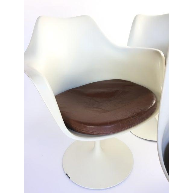 Eero Saarinen Leather Tulip Chairs - Set of 6 - Image 4 of 9