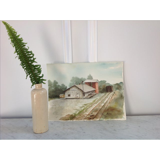 Watercolor of a Train Station - Image 3 of 5