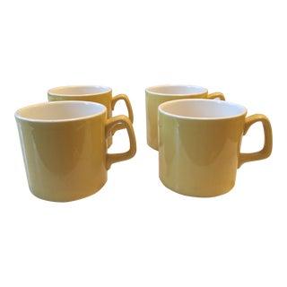 Vintage Sunny Yellow Coffee Mugs - Set of 4