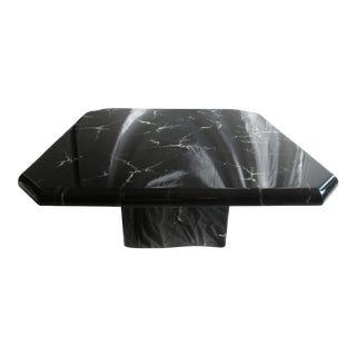 Retro Laquered Black Marble Design Coffee Table