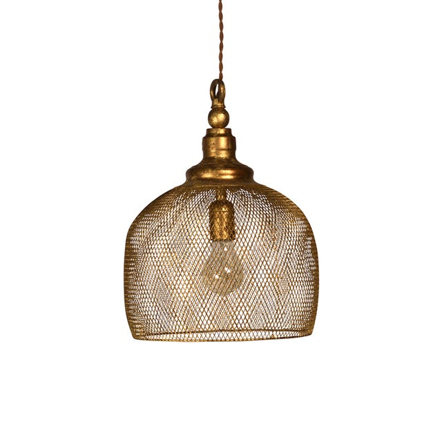 Image of Gold Leaf Basket Lantern