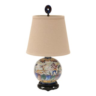 Portuguese Majolica Table Lamp with Hunting Scene