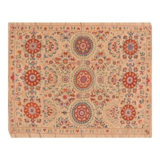 Uzbeki Silk on Silk Suzani Rug - 5' x 6'2″
