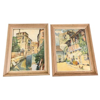 Pair of Mid-Century Framed Venice Watercolor Landscape Paintings