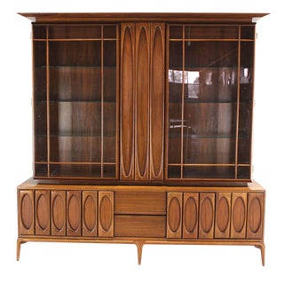 Large Heavily Carved Front Walnut Two Part Breakfront Bookcase Cabinet