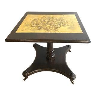 Vintage Pedestal Accent Table Decoupaged End Table