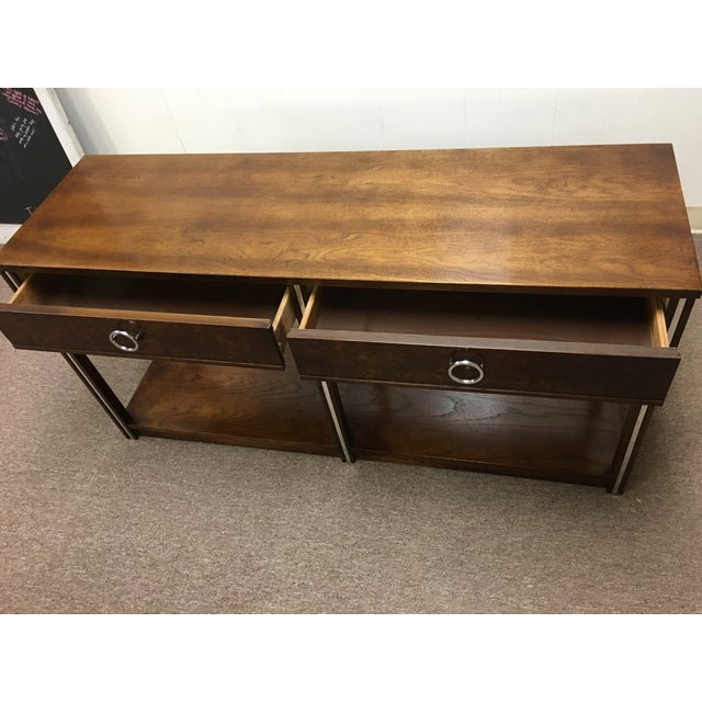 Vintage Wood and Chrome Console/Sofa Table - Image 5 of 10