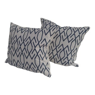 Navy & White Accent Pillows - A Pair