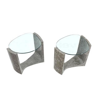 Pair of Tessellated Stones Bases Glass Tops Side Tables