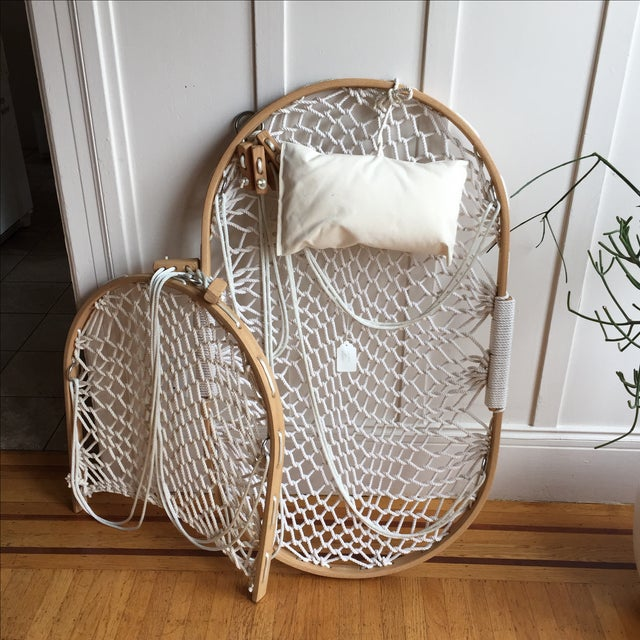Bent Oak Rope Hanging Hammock Chair With Foothold   Chairish