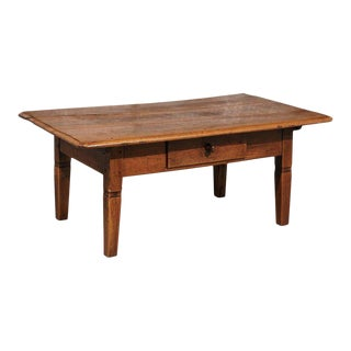 French Walnut Coffee Table with Single Drawer and Tapered Legs from the 1870s